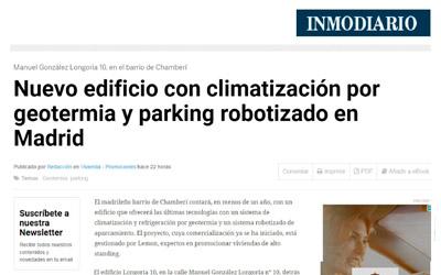 INMODIARIO – Nuevo edificio con climatización por geotermia y parking robotizado en Madrid.Manuel González Longoria 10, en el barrio Chamberí.