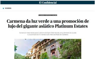 EL CONFIDENCIAL – Carmena da luz verde a una promoción de lujo del gigante asiático Platinum Estates