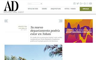 """Publicación Digital en """"AD ARCHITECTURAL DIGEST"""", de 26 de noviembre de 2018,  sobre el proyecto residencial """"Amelia Tulum"""" en Tulum, Mexico."""